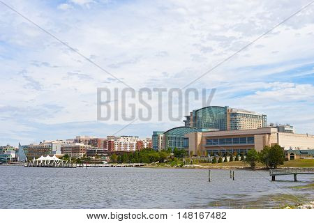 OXON HILL MARYLAND USA - SEPTEMBER 11: National Harbor panorama on September 11 2016. The waterfront with restaurants shops outlet and movies under the sky located in only fifteen minutes by car from DC.