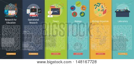 Science and Research Vertical Banner Concept   Set of great vertical banner flat design illustration concepts for science, research, technology, physics, chemistry and much more.