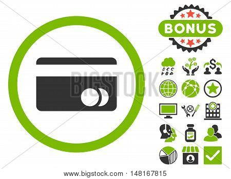 Banking Card icon with bonus pictogram. Vector illustration style is flat iconic bicolor symbols, eco green and gray colors, white background.