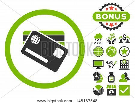 Banking Cards icon with bonus images. Vector illustration style is flat iconic bicolor symbols, eco green and gray colors, white background.