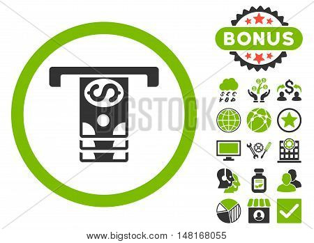Banknotes Withdraw icon with bonus elements. Vector illustration style is flat iconic bicolor symbols, eco green and gray colors, white background.