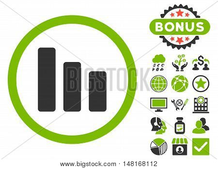 Bar Chart Decrease icon with bonus design elements. Vector illustration style is flat iconic bicolor symbols, eco green and gray colors, white background.