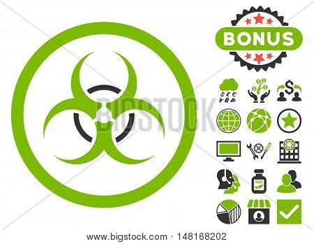 Bio Hazard icon with bonus design elements. Vector illustration style is flat iconic bicolor symbols, eco green and gray colors, white background.