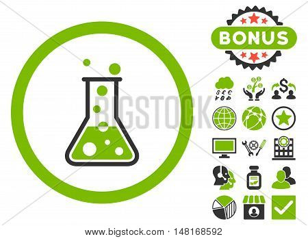 Boiling Liquid Flask icon with bonus elements. Vector illustration style is flat iconic bicolor symbols, eco green and gray colors, white background.