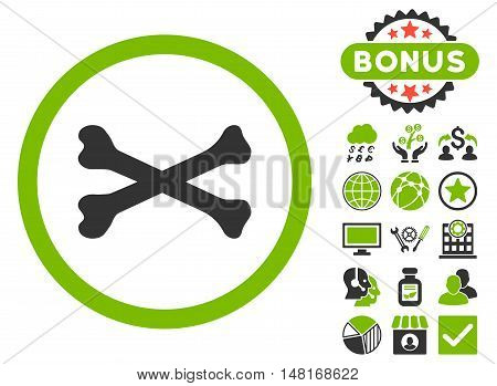 Bones Cross icon with bonus pictures. Vector illustration style is flat iconic bicolor symbols, eco green and gray colors, white background.