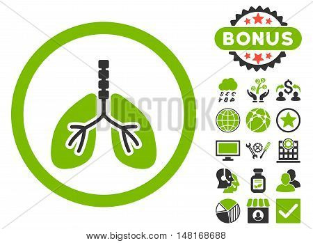 Breathe System icon with bonus design elements. Vector illustration style is flat iconic bicolor symbols, eco green and gray colors, white background.