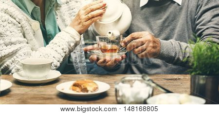 Senior Couple Afternoon Temn Drinking Relax Concept