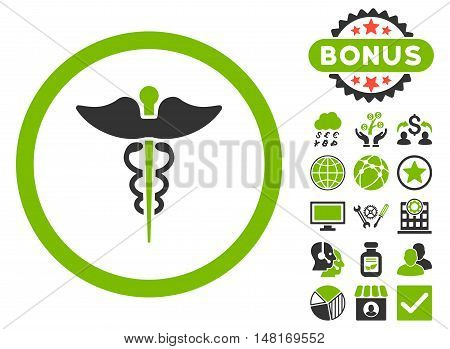 Caduceus icon with bonus symbols. Vector illustration style is flat iconic bicolor symbols, eco green and gray colors, white background.