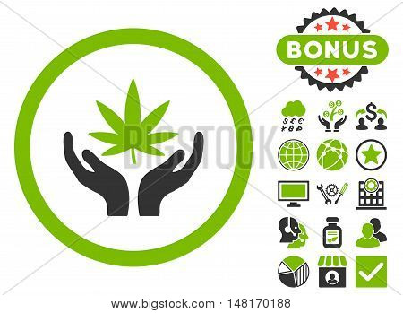 Cannabis Care Hands icon with bonus pictogram. Vector illustration style is flat iconic bicolor symbols, eco green and gray colors, white background.