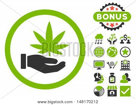 Cannabis Offer Hand icon with bonus symbols. Vector illustration style is flat iconic bicolor symbols, eco green and gray colors, white background.