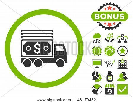 Cash Lorry icon with bonus design elements. Vector illustration style is flat iconic bicolor symbols, eco green and gray colors, white background.