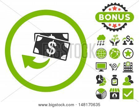 Cashback icon with bonus images. Vector illustration style is flat iconic bicolor symbols, eco green and gray colors, white background.