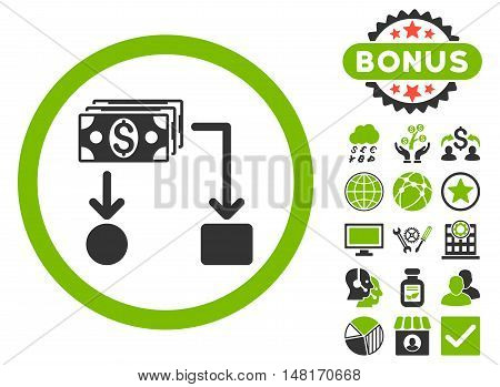 Cashflow icon with bonus images. Vector illustration style is flat iconic bicolor symbols, eco green and gray colors, white background.