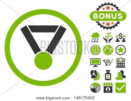 Champion Award icon with bonus elements. Vector illustration style is flat iconic bicolor symbols, eco green and gray colors, white background.