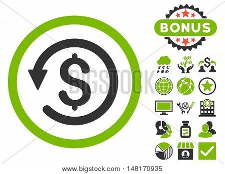 Chargeback icon with bonus pictogram. Vector illustration style is flat iconic bicolor symbols, eco green and gray colors, white background.