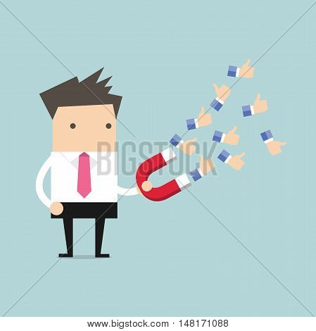 Businessman using huge magnet attract a lot of positive feedback. vector