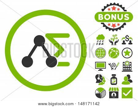 Chemical Formula icon with bonus elements. Vector illustration style is flat iconic bicolor symbols, eco green and gray colors, white background.