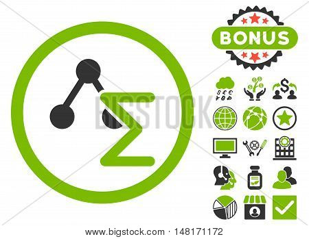 Chemical Formula icon with bonus pictures. Vector illustration style is flat iconic bicolor symbols, eco green and gray colors, white background.