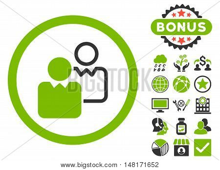 Clients icon with bonus pictures. Vector illustration style is flat iconic bicolor symbols, eco green and gray colors, white background.