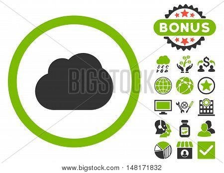 Cloud icon with bonus elements. Vector illustration style is flat iconic bicolor symbols, eco green and gray colors, white background.