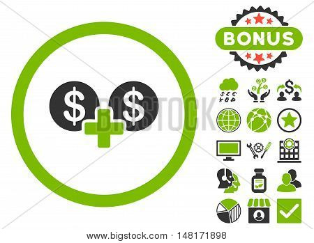 Coins Sum icon with bonus images. Vector illustration style is flat iconic bicolor symbols, eco green and gray colors, white background.