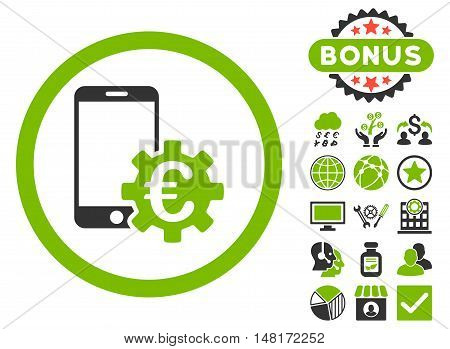 Configure Mobile Euro Bank icon with bonus symbols. Vector illustration style is flat iconic bicolor symbols, eco green and gray colors, white background.