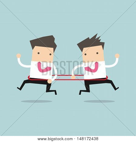 Businessmen are running to the opposite direction from each other. vector