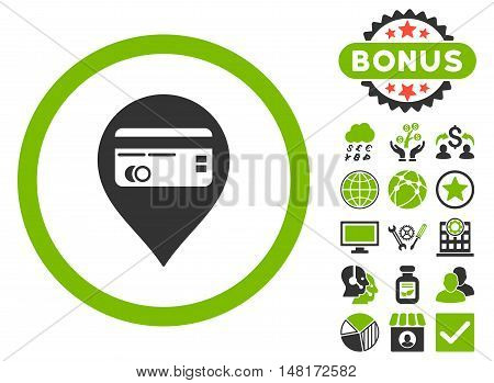 Credit Card Pointer icon with bonus images. Vector illustration style is flat iconic bicolor symbols, eco green and gray colors, white background.