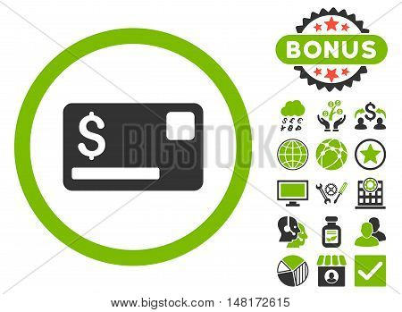 Credit Card icon with bonus design elements. Vector illustration style is flat iconic bicolor symbols, eco green and gray colors, white background.