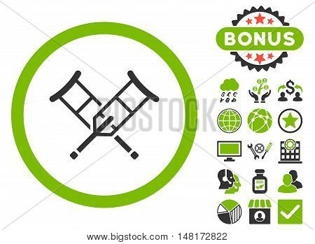 Crutches icon with bonus images. Vector illustration style is flat iconic bicolor symbols, eco green and gray colors, white background.