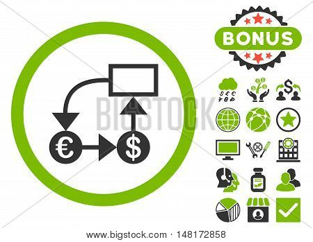Currency Flow Chart icon with bonus symbols. Vector illustration style is flat iconic bicolor symbols, eco green and gray colors, white background.