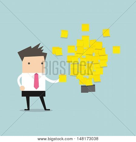 Businessman with a lot of stickers with ideas on the wall. Business project, ideas. vector