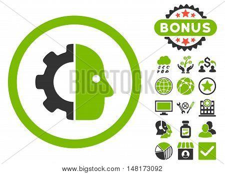 Cyborg icon with bonus symbols. Vector illustration style is flat iconic bicolor symbols, eco green and gray colors, white background.