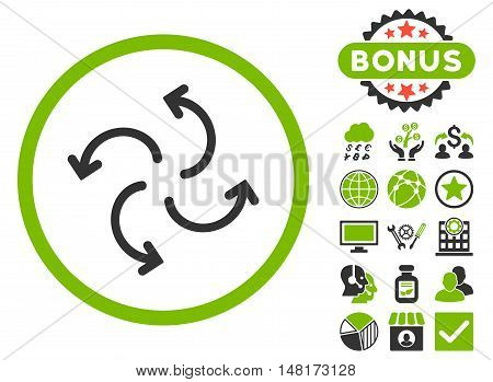 Cyclone Arrows icon with bonus symbols. Vector illustration style is flat iconic bicolor symbols, eco green and gray colors, white background.