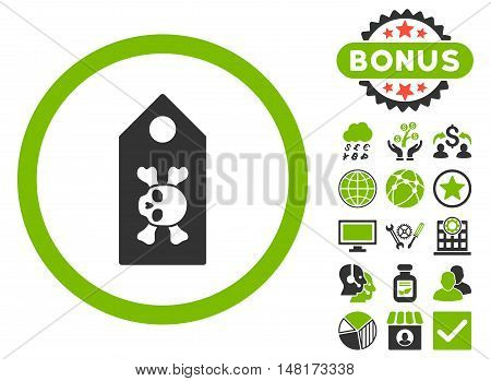Death Label icon with bonus pictogram. Vector illustration style is flat iconic bicolor symbols, eco green and gray colors, white background.