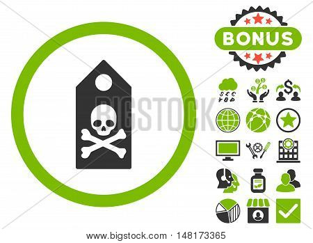 Death Mark icon with bonus design elements. Vector illustration style is flat iconic bicolor symbols, eco green and gray colors, white background.