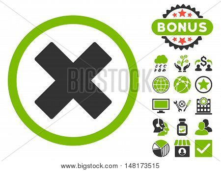 Delete X-Cross icon with bonus symbols. Vector illustration style is flat iconic bicolor symbols, eco green and gray colors, white background.