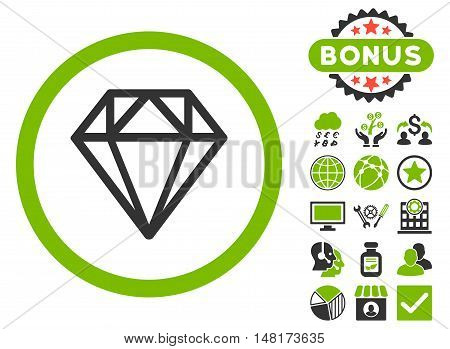 Diamond icon with bonus design elements. Vector illustration style is flat iconic bicolor symbols, eco green and gray colors, white background.