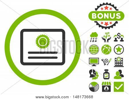 Diploma icon with bonus pictogram. Vector illustration style is flat iconic bicolor symbols, eco green and gray colors, white background.