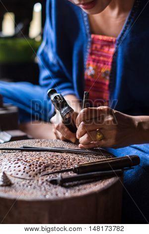 Thai (Lanna) traditional barrette making scene, handcraft factory.