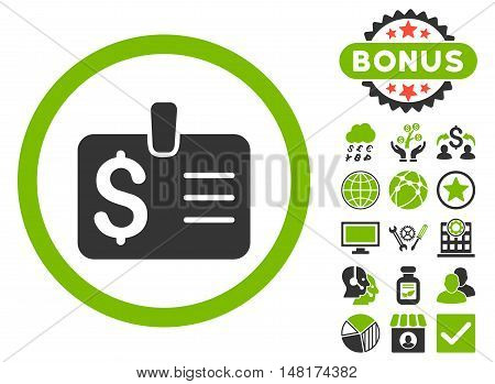 Dollar Badge icon with bonus pictogram. Vector illustration style is flat iconic bicolor symbols, eco green and gray colors, white background.