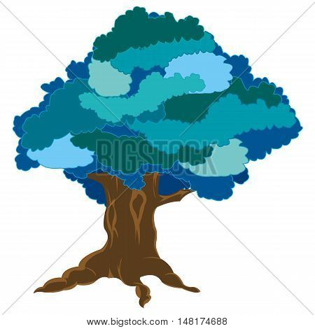 Vector illustration tree in winter on white background is insulated
