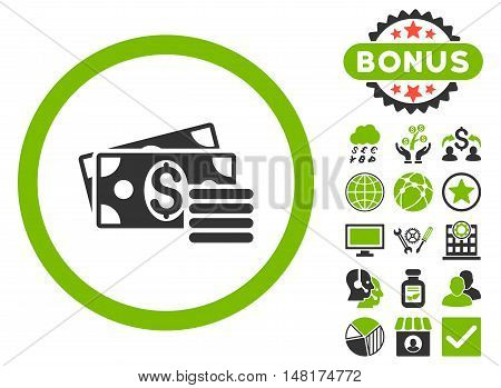 Dollar Cash icon with bonus images. Vector illustration style is flat iconic bicolor symbols, eco green and gray colors, white background.