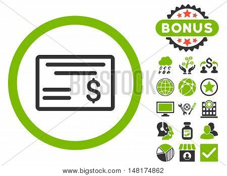 Dollar Cheque icon with bonus symbols. Vector illustration style is flat iconic bicolor symbols, eco green and gray colors, white background.
