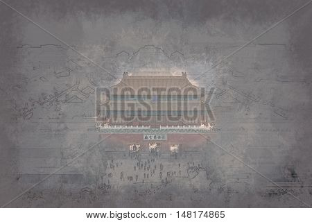 An aerial bird view of the the famous Forbidden City in Beijing, China. Vintage painting, background illustration, beautiful picture, travel texture