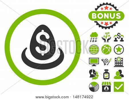 Dollar Deposit Egg icon with bonus design elements. Vector illustration style is flat iconic bicolor symbols, eco green and gray colors, white background.