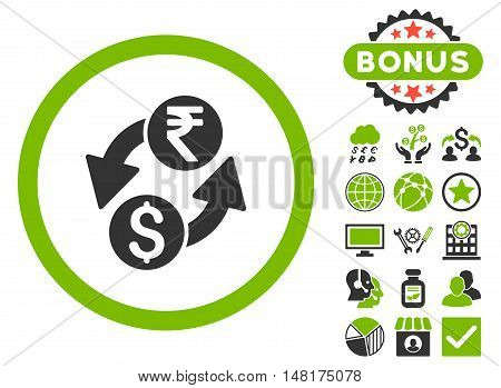 Dollar Rupee Exchange icon with bonus symbols. Vector illustration style is flat iconic bicolor symbols, eco green and gray colors, white background.