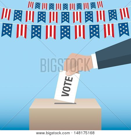 Usa Presidential Election Day Concept. Hand Putting Voting Paper In The Ballot Box.