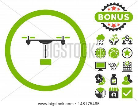 Drone Shipment icon with bonus elements. Vector illustration style is flat iconic bicolor symbols, eco green and gray colors, white background.