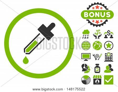 Dropper icon with bonus symbols. Vector illustration style is flat iconic bicolor symbols, eco green and gray colors, white background.